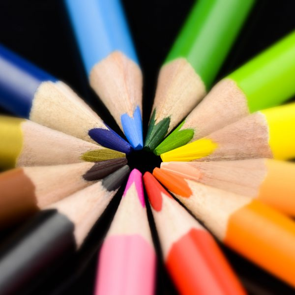 brightly coloured pencils in circle, for use with glass, kitchen, and bathroom splashbacks