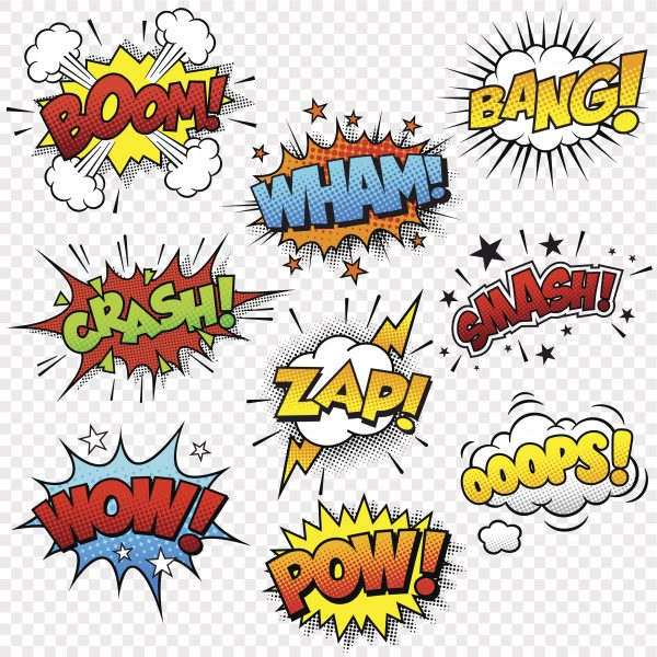 comic sound effects pattern for use with bathroom, glass, and kitchen splashbacks