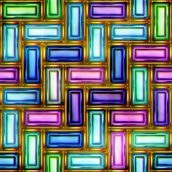 neon interlocking rectangles pattern for use with glass, kitchen, and bathroom splashbacks