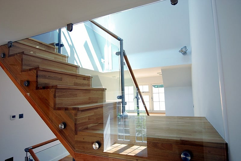 An example of how glass balustrades can look inside the home