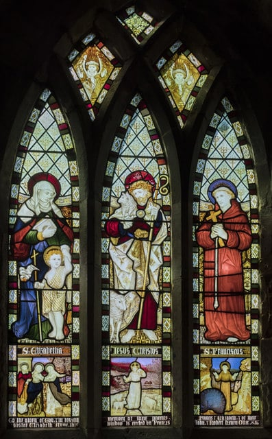 Image of a stained-glass window in a church