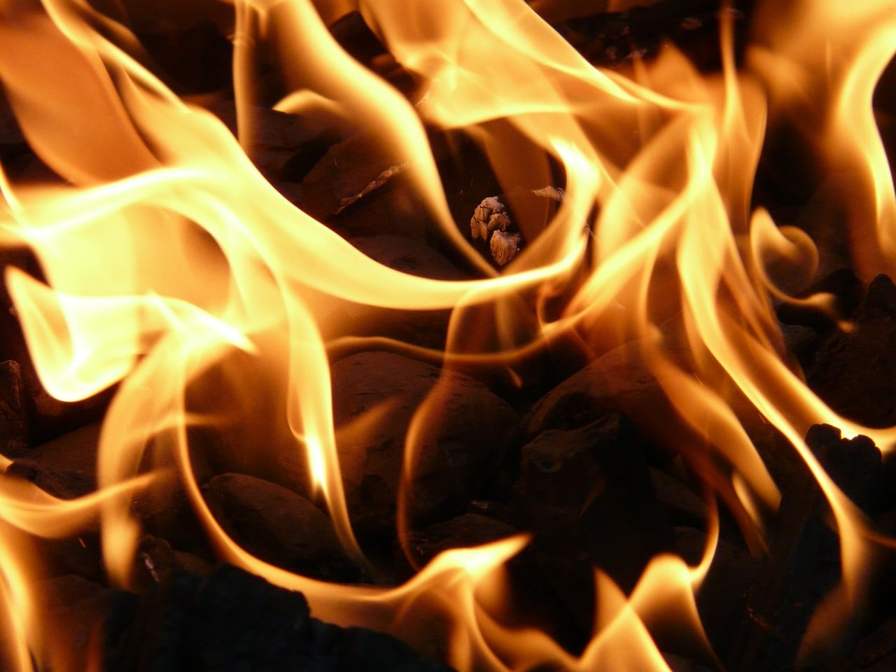 An image of fire, used here to symbolise the fire resistant glass supplied by Cameo Glass
