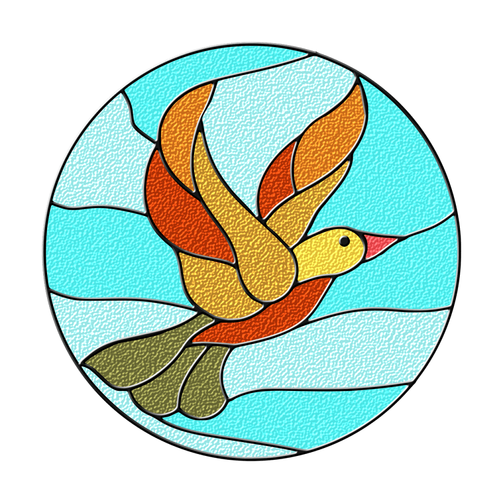 An image of a stained glass bird